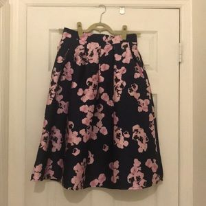 Chicwish Pink on Navy Floral Midi Skirt